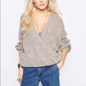 Free People Karina Slouchy Wrap Front Sweater XS